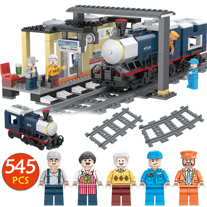 Winter holiday City Series Building Block Compatible Legoingly Train Railway Assembly Birthday Toy for Children Gift