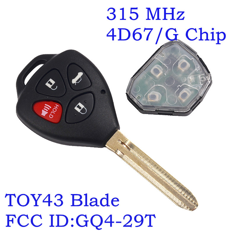 315Mhz Remote key For Toyota Camry Corolla Avalon Venza 2007 2008 2009 2010 2011 2012 GQ4-29T Original key G Chip 4D67 Chip