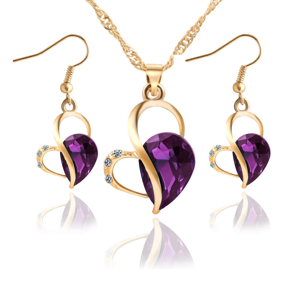 Gold Color Jewelry Set Hollow Heart Love Crystal Rhinestone Necklaces Earrings Zircon Statement Charm Women Bridal Wedding Sets