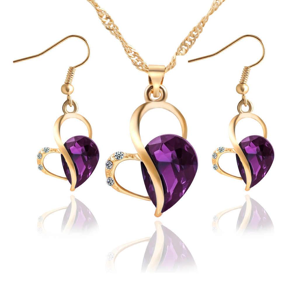 สีทองฮอลโลว์ตั้งหัวใจรักคริสตัลRhinestoneสร้อยคอต่างหูเพทายชี้แจงเสน่ห์ของผู้หญิงเจ้าสาวชุดแต่งงาน