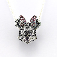 Fits Pandora Bracelets Sparkling Minnie Portriat Silver Beads 100% 925 Sterling Silver Charms DIY Jewelry Wholesale
