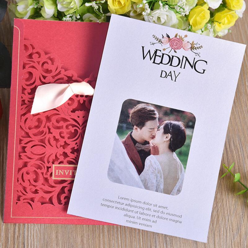 20pcs lot Party Invitation Card Romantic Decorative Cards Envelope Delicate Flower Cut Carved Pattern Wedding Invitations in Cards Invitations from Home Garden