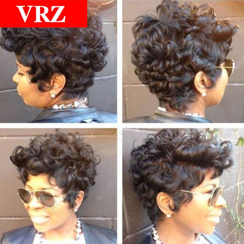 Curly Short Pixie Human Hair Wigs Cut Curly Brazilian Hair