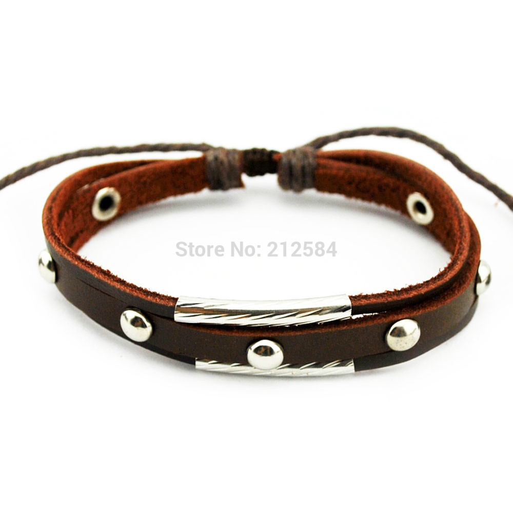 G407 Rivet Fashion Womens Mens Leather Charm Bracelet Handmade Surfer  Ethnic Hemp Wrap Bracelet Wristband Unisex