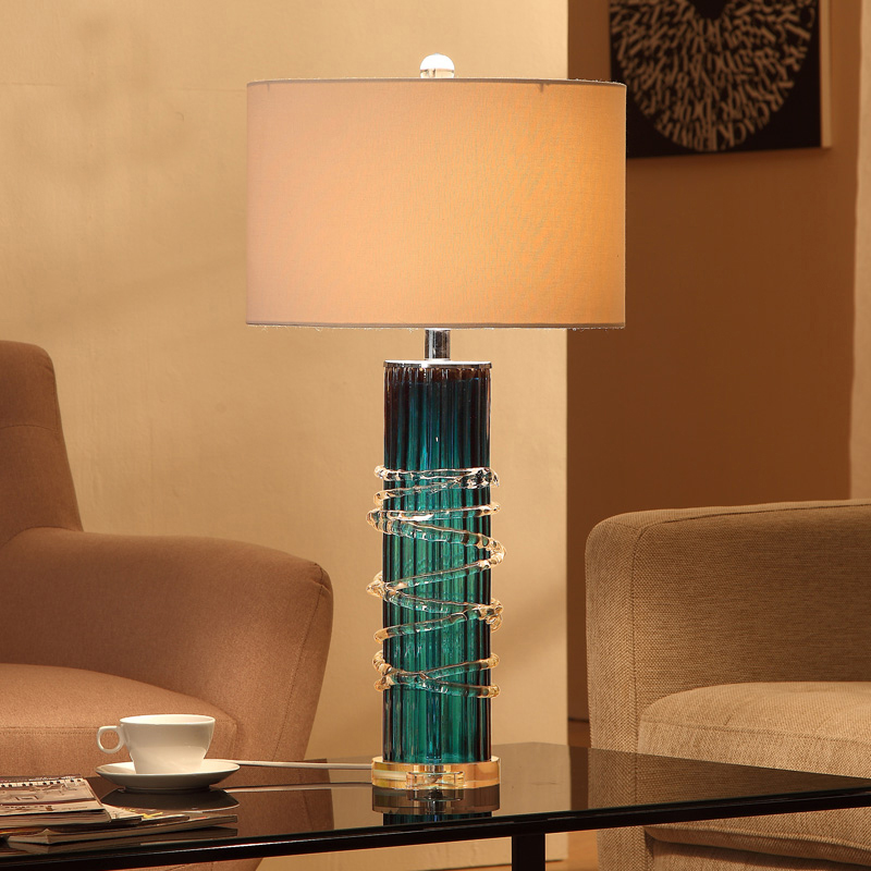 Modern Blue Glass Table Lamp Bedside Crystak Base Lamp Living Room ...