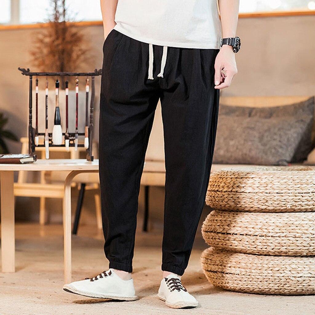 Feitong Trousers Men Jogger-Pants Ankle-Length Cotton Linen Vintage Casual Comfort Loose