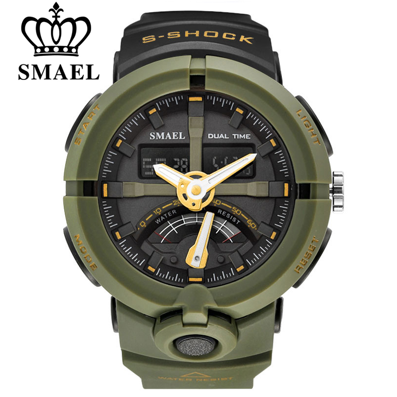 SMAEL Brand Fashion Men Sports Quartz Wristwatches Men's Electronic Dual Display LED Digital Watch Man Watches relogio masculino