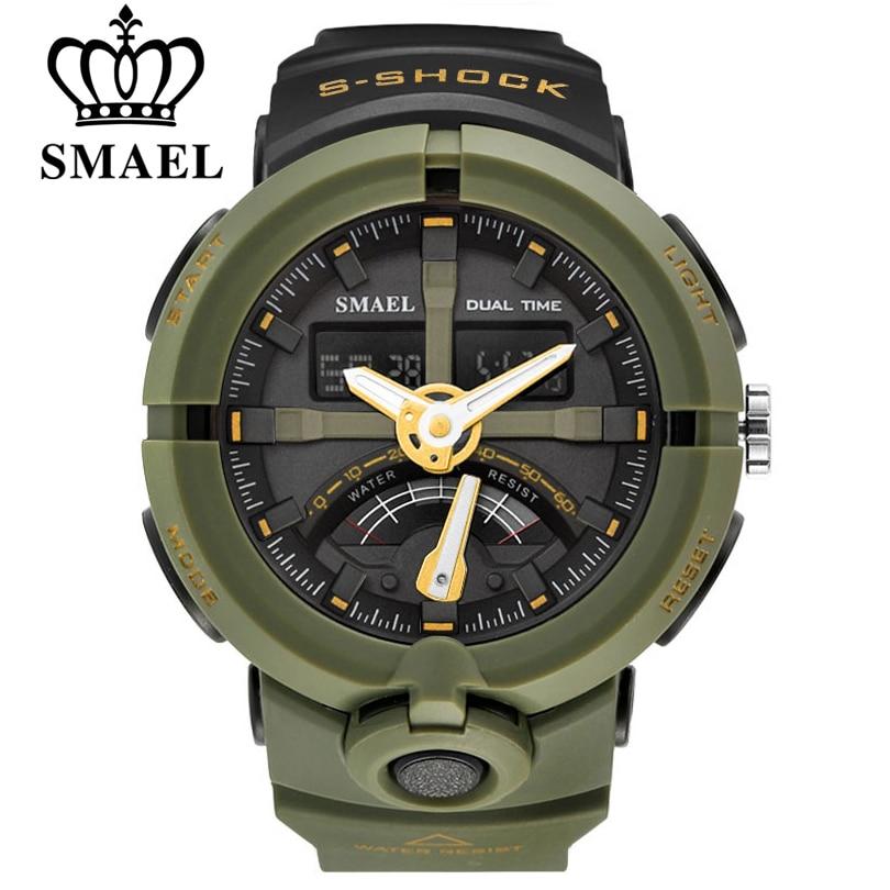 SMAEL Brand Fashion Men Sports Quartz Wristwatches Men&#8217;s <font><b>Electronic</b></font> Dual Display <font><b>LED</b></font> Digital Watch Man Watches relogio masculino