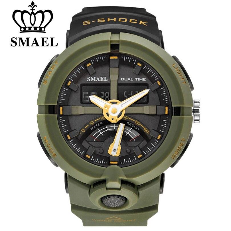 Smael marca moda hombres deportes cuarzo relojes electrónicos hombres dual display LED digital Reloj hombre relojes Relogio Masculino