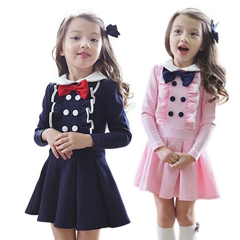 1 Pcs 4T-8T Girl Dresses Korean Bow Preppy Style Dresses Long Sleeves Cotton Pink Carribean Girl Dresses Spring Autumn V20 inc international concepts women s long sleeves cotton blouse 4 candy pink