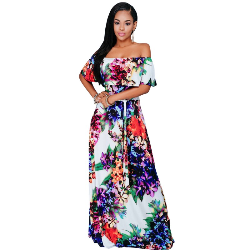 Multicolor maxi floral print long dress 2016 boho style off the shoulder dresses women sexy clubwear