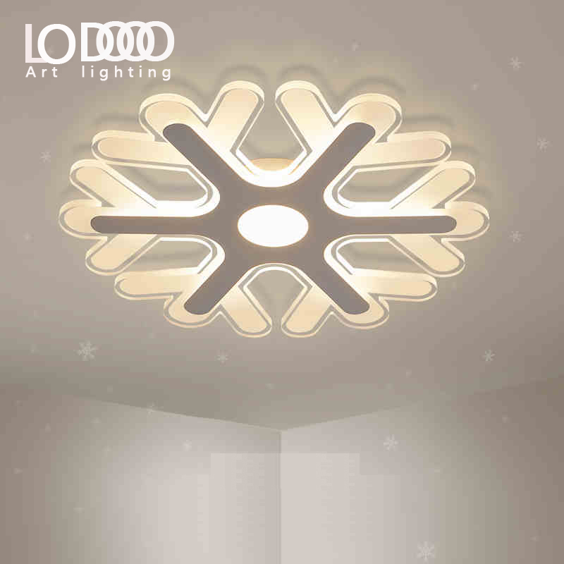 LODOOO 110 220v snowflake Ceiling Lights Lamparas De Techo Abajur Avize Lustre Plafonnier Led Moderne Living Room Lights Lampen noosion modern led ceiling lamp for bedroom room black and white color with crystal plafon techo iluminacion lustre de plafond