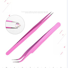 1pcs pink anti-static Curved Straight Tweezers Eyelash Extension Nails Decor Picker Dead Skin Remover Manicure  Nail Tools