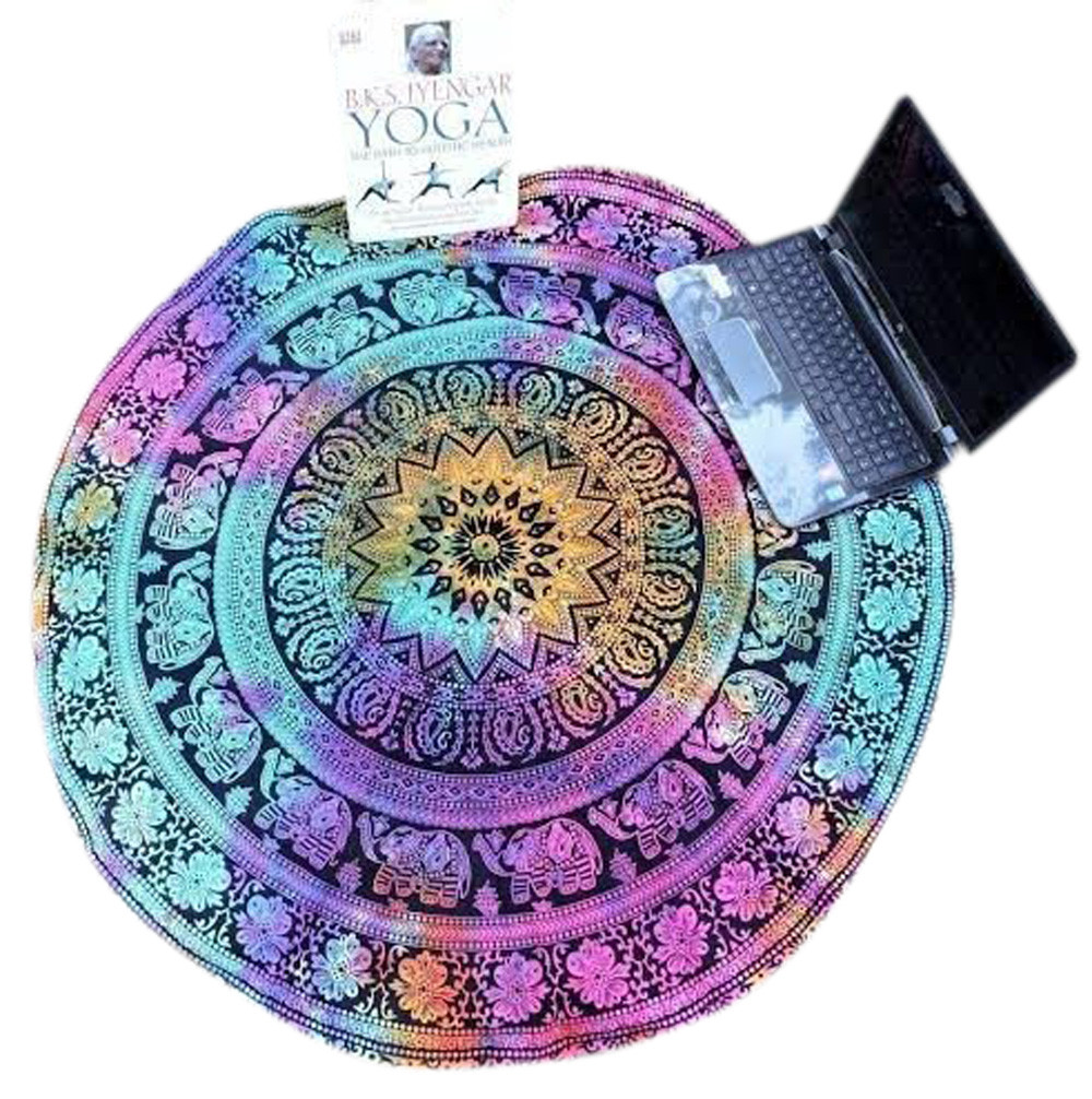 ISHOWTIENDA Hot Colorful Round Beach Pool Home Shower Towel Blanket Table Cloth Yoga Matdrop shipping and Wholesale New