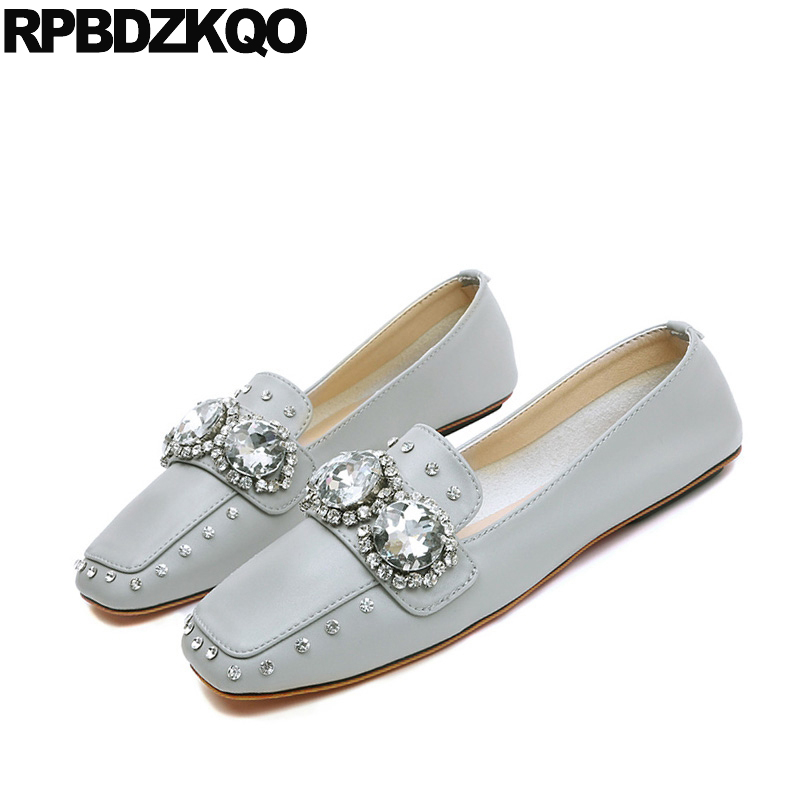 Designer Shoes China Nude 2018 Crystal Unique Chinese Dress Rhinestone Grey Wedding  Square Toe Loafers Women Flats European-in Women s Flats from Shoes on ... 7f69e034cc85