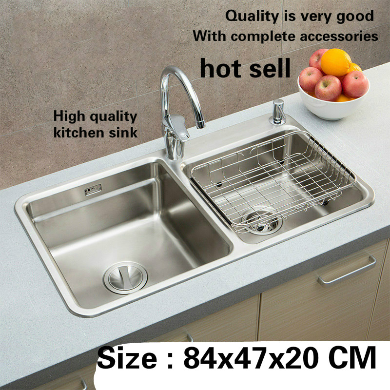 Free Shipping Hot Sell Individuality Luxury Kitchen Double Groove Sink Durable 304 Stainless Steel High Quality Big 840x470 MM