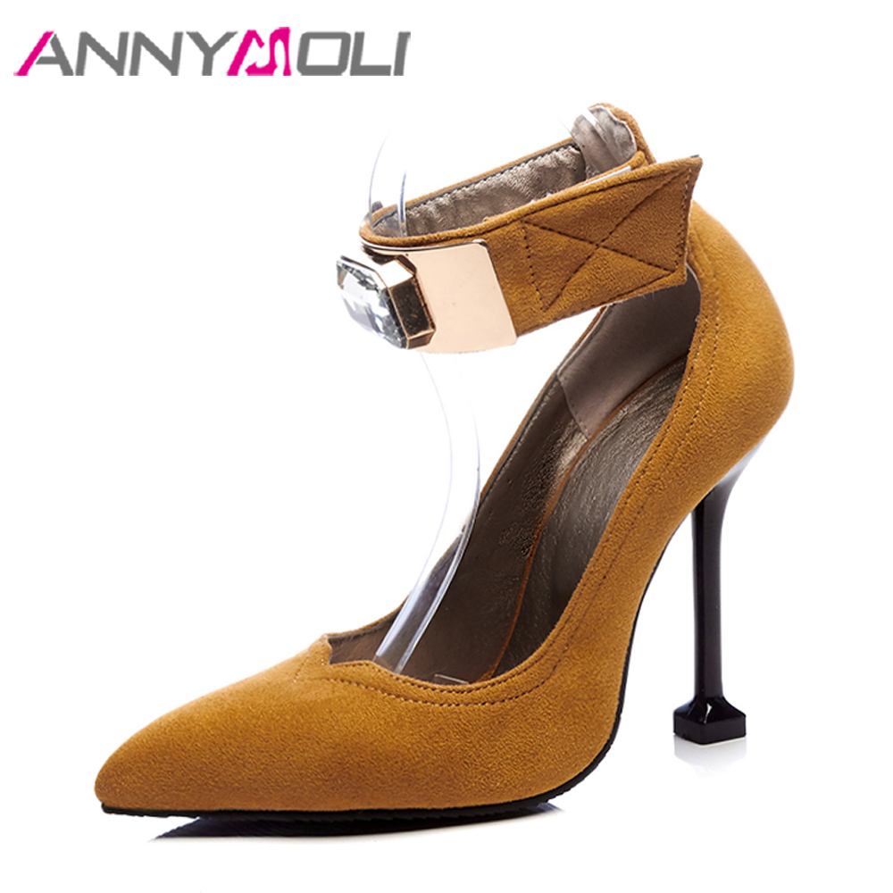 ANNYMOLI Women Pumps High Heels Ladies Party Shoes Crystal Pointed Toe Female Pumps Ankle Strap Shoes Sexy Brown Plus Size 34-46 pointed toe dress shoes ladies pumps high heels ankle strap footwear 4 34 small size crystal stiletto 2017 7cm 3 inch silver