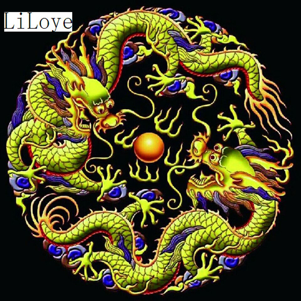 Li Loye 5D DIY Diamond Painting Cross Stitch Two dragon Play beads Crystal Needlework Diamond Embroidery Full Diamond Decor FZ19