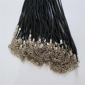 Image 3 - Toptan 100 adet/grup 1.5mm siyah balmumu deri kordon halat kolye 45cm istakoz toka ile kordon kolye kabloları diy takı