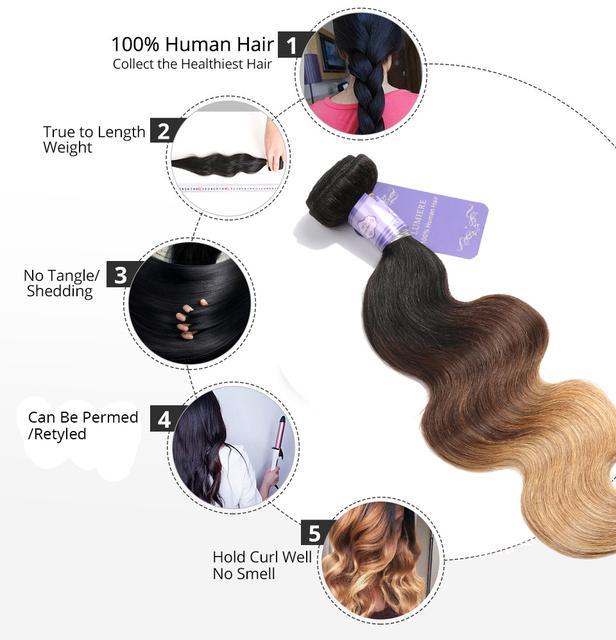 Hair Ombre Brazilian Hair Weave Bundles Body Wave 3 Tone