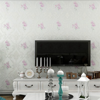 3D Flower Damask Embossed Wallpaper Romantic Floral Background Bedroom Wall Paper Wallcoverings European Pastoral Style