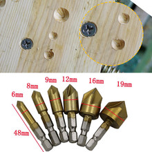 3 Pcs Drill Bits Flute Countersink Drill Bit Set Counter 6-19mm Sink Chamfer Cutter High Quality 3 Types For Wooden Planks