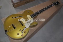 Factory Custom Musical Instrument High Quality NEW 1946-1949 Archtop Guitar P90 pickup Gold top ES125 Jazz Electric Guitar 1111
