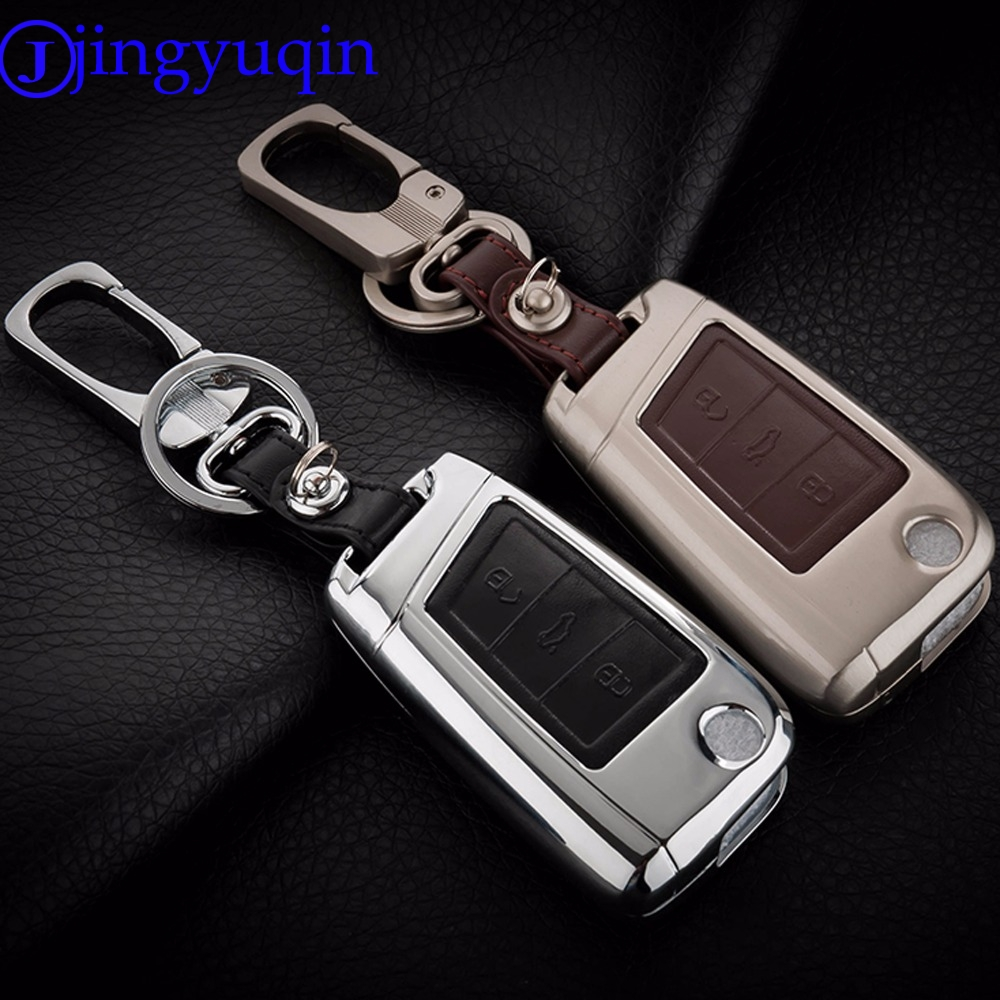 New Remote 3 Buttons Zinc Alloy Leather Car Key Cover Case For VW Golf 7 mk7