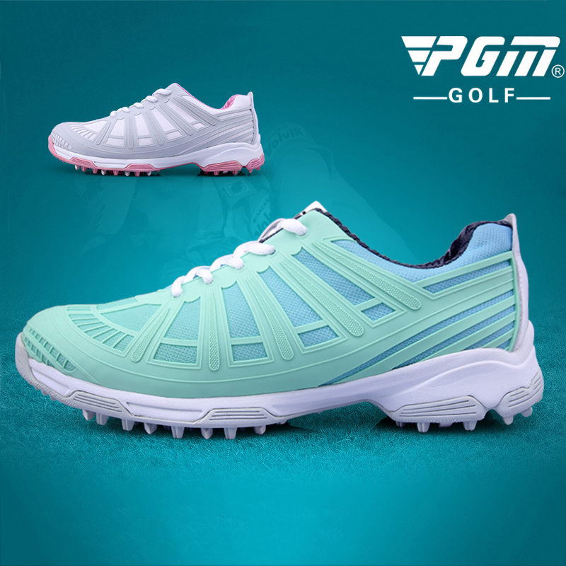 PGM Womens Sports Golf Shoes Double Patent Waterproof Non-slip Breathable Profession The Exoskeleton Women Golf Sneakers 35-40