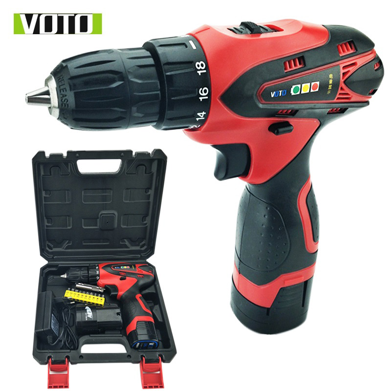цена на 16.8V VOTO Cordless battery drill electric Drill Screwdriver Power Tools Carbon Mini Drill double speed lithium plastic box pack
