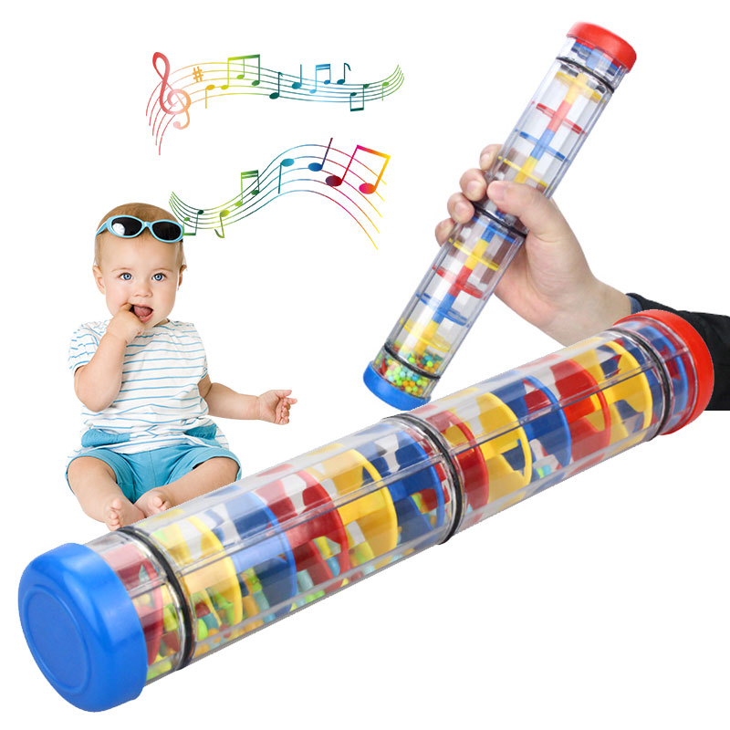 Toy Musical Instrument Plastic Rainbow Hourglass Plastic Rain Sound Tube Baby Toy Rainmaker Four-Section Kids Educational Toys