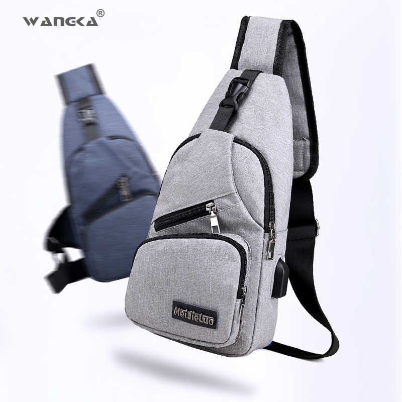 4796a151e3f WANGKA Sling Shoulder USB Charge Chest Bag for Men Casual ...
