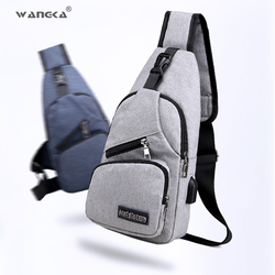 WANGKA Sling Shoulder USB Charge Chest Bag for Men Casual Multifunction Waterproof Crossbody Bag Women Short Trip 2018 Hot Sale