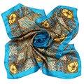 [LESIDA] Vintage 100% Pure Silk Scarf, 90*90 cm Quadrados Twilly Lenços Das Senhoras, Hortelã Étnico projeto de Cetim Mulheres Xales 9100