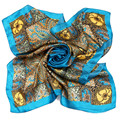 [LESIDA] Vintage 100% Pure Silk  Scarf,90 * 90cm Square Twilly Ladies Scarves,Mint Ethnic Design Satin Women Shawls 9100