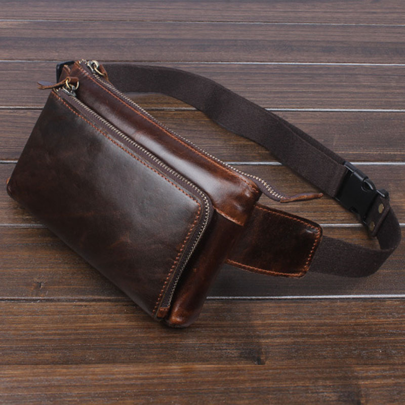 Men Vintage Cowhide Waist Bag Oil Wax Leather Cowhide  Cell/Mobile Phone Hip Bum Belt Cross Body Pouch Fanny Pack Waist  Bag