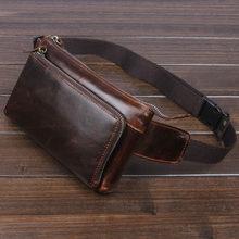 Pochete para homens, bolsa de cintura vintage de couro bovino para homens, couro bovino, cinto transversal para celular pochete, bolsa de cintura
