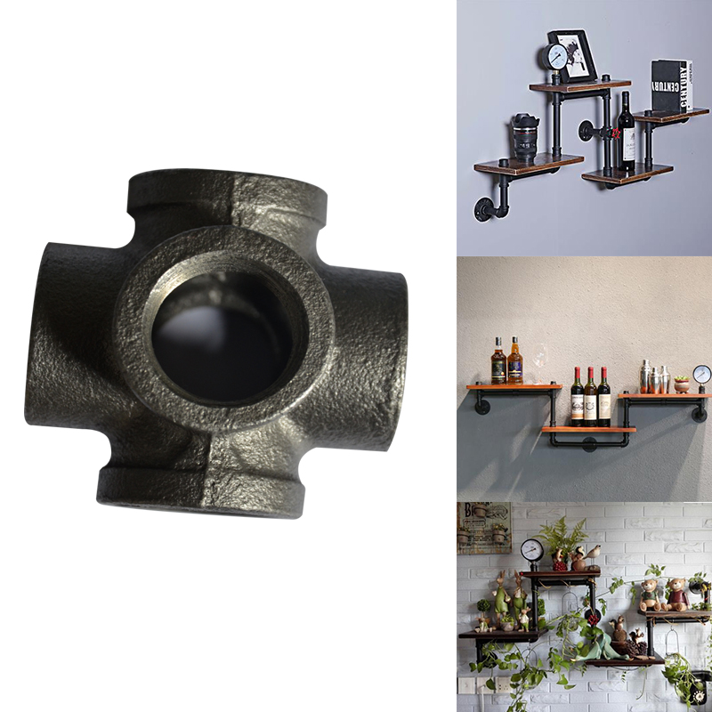2pcs/lot G3/4 Dn20 Black Side Outlet Cross Iron Cast Pipe Fittings Industrial Style Iron Storage Holders Pipe Brackets Iron Pipe Fittings Pipes & Fittings