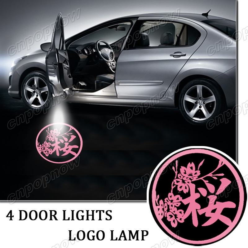 ФОТО 4pcs Ghost Shadow Light For Japanese Flowering Cherry LED Car Logo Projector symbol Welcome Door Light 3D Laser Lamp #6450*4#