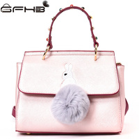 Embroidery Rabbit Bags Women Handbags Famous Brands Michael Handbag Fashion Lady Hairball Design Leather Shoulder Bag