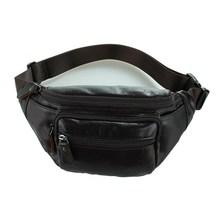 Nesitu High Quality Vintage Coffee Color 100% Real Genuine Leather Waist Bags Men Women Cowhide #M7218
