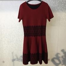 Women Dress 2019 Autumn Winter Wool Dresses Elegant  A-Line Short Sleeve Vintage Vestido