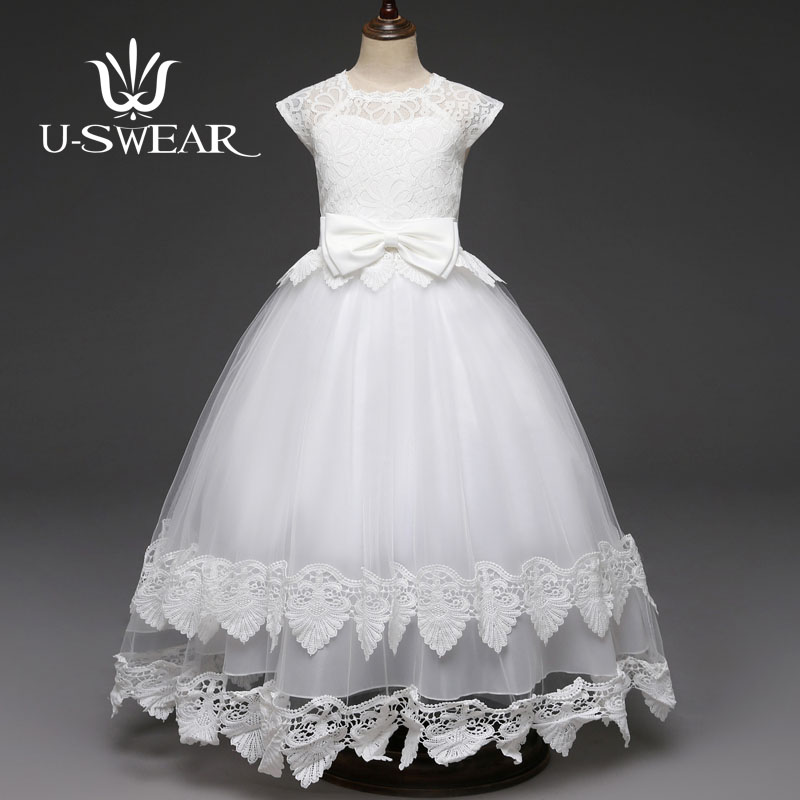 U-SWEAR 2019 New Arrival Kid   Flower     Girl     Dresses   O-Neck Sleeveless Flora Lace Bow   Flower     Girls   Ball Gown Chiffon Vestidos