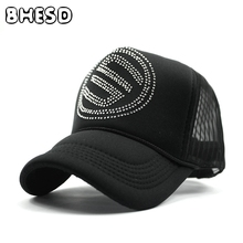 6a11e3c9d91e BHESD 2017 S Trucker Hat Skull rhinestone baseball cap Women snapback hip  hop hat Men Dad