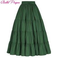 Belle Poque Long Skirts Autumn Winter Womens Vintage 50s 60s Retro Maxi Skirt Elastic Warm Pleated Skirts For Party Longa Faldas