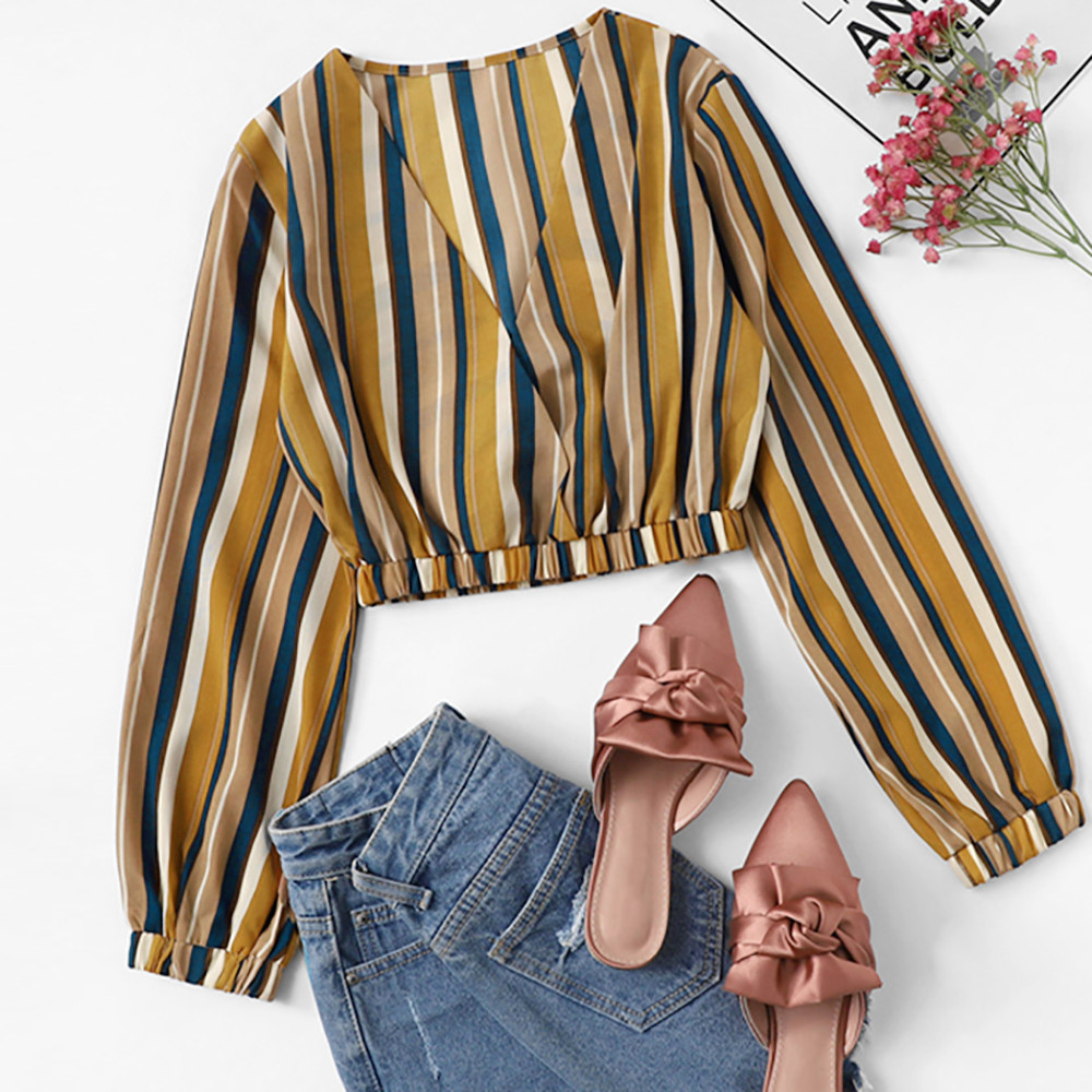 Women Sexy Striped Chiffon Long-Sleeve Blouse V-Neck Crop Tops Daily Made Of High Quality Materials Very Beautiful Blouse #20