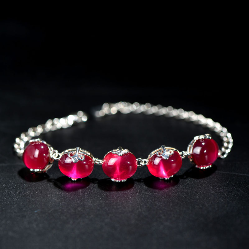 925 Sterling silver Semi-precious stones red Bangles for girls vintage Red corundum Bracelet Women jewelry Valentine's Day gift