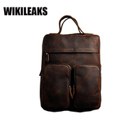 Men S Vintage Crazy Horse Rucksack Retro Cowhide 15 Laptop Brown Genuine Leather Backpack Thick Cow