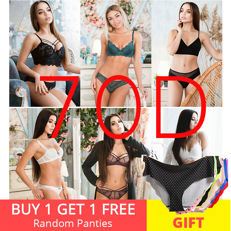 70D   Bra     set   Buy More Big Discount Sexy Lace Lingerie   Set   Push Up Solid Color Underwear Embroidery   bra   and panty   set