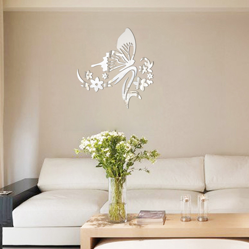 3d mirror stickers butterfly flower wall stickers for Mirror stickers